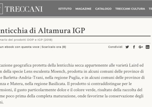 La Lenticchia di Altamura IGP presente sul dizionario Treccani